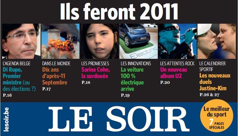 Le Soir, Une  3 janvier 2011